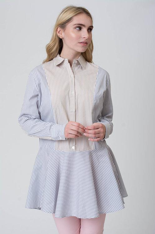 Mixed Color Shirt Dress