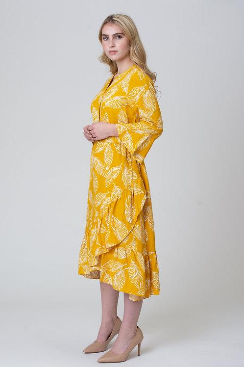 Linen Blend Printed Floral Dress