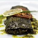 SALAMON IN GRAPE LEAVES