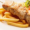 Souvlaki and fries combo