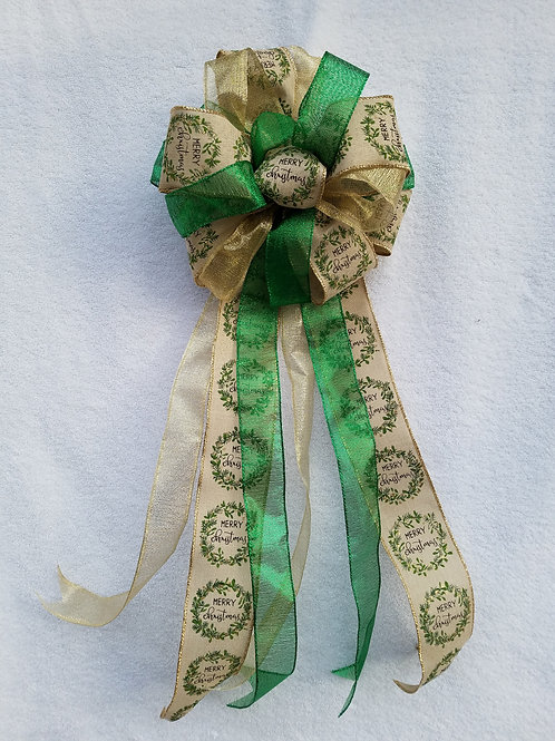 Deluxe Green Gold Bow and Decorations