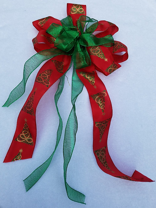 Deluxe Red Green Bow and Decorations
