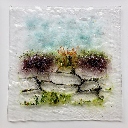 'West Cork Wall', Fused Glass (framed)