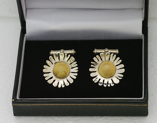 'Daisy Cufflinks', Sterling Silver with Gilded Centres