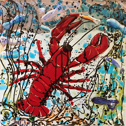 'Red Lobster Fishing Plate', Fused Glass