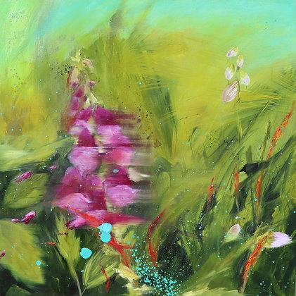 'Hedgerow Foxglove', Oil on Cradled Board