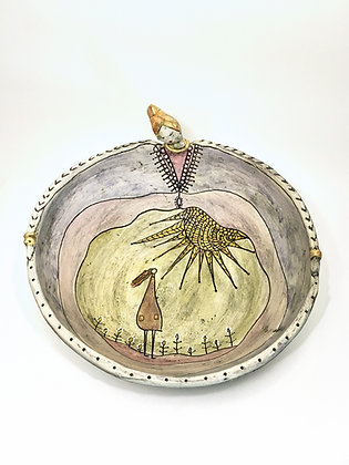 'Bright New Day', Ceramic Bowl with Sgraffito