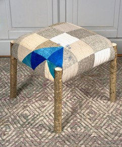 'Cornflower Footstool', Hazel with Wool Textile by Mary Palmer