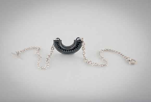 'Spiral Pendant with Triple Size Chain', Oxidised Sterling Silver