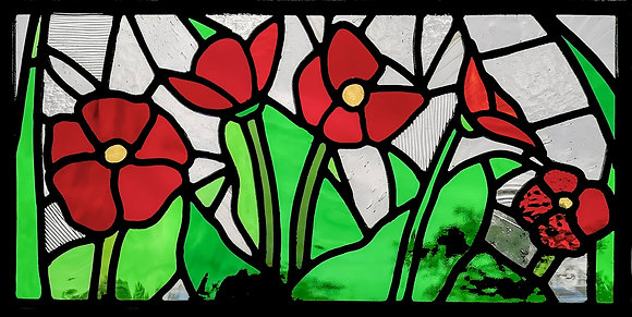 'The Window Box Poppies', Stained Glass