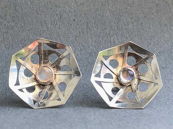'Changeable Winter Flowers' Ear Studs, Sterling Silver, Moonstone Cabochons