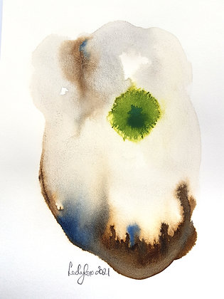 'Blue Green Study #2', Ink Drawing by Lesley Cox