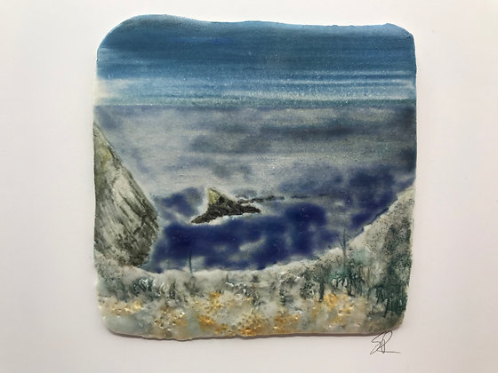 'Gorse Blooming', Porcelain Wall Piece on Board