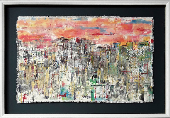 'Multicultural Metropolis-Home', Creative Embroidery on Monoprint