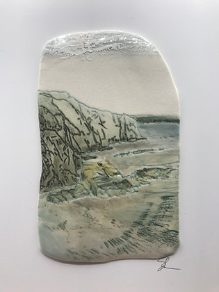 'Deep and Dark', Porcelain Wall Piece on Board