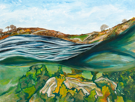 'Boot Topping Lough Hyne', Acrylic Paint and Ink on Paper