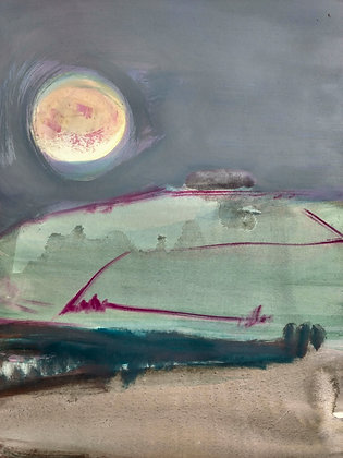 'One Evening When The Moon Was Full...', Oil and Watercolour on 300gms Paper