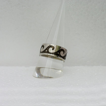 'Wave Ring', Etched Sterling Silver