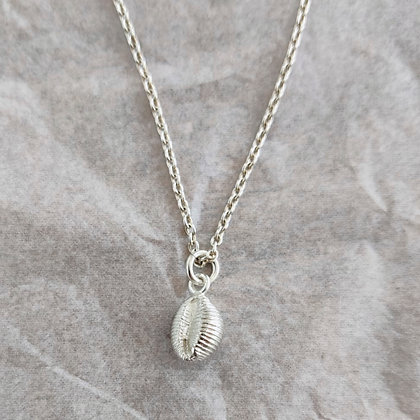 'Cowrie Shell Pendant on Chain', Sterling Silver