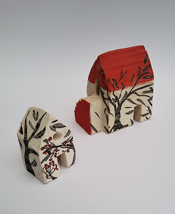 'Barns With Trees', Ceramic Barns