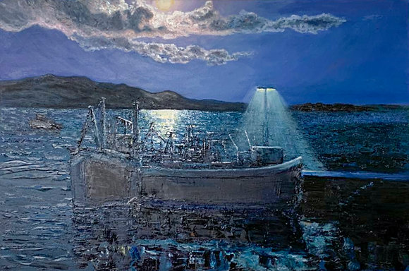 'Harvest Moon Over Schull Harbour', Oil on Canvas