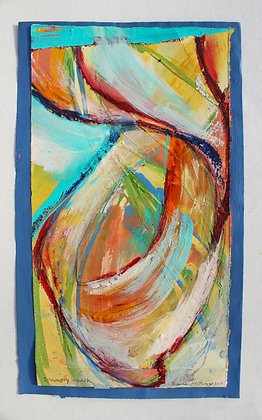 'Summery Spark', Acrylic Paint, Oil Bar on Fabriano Paper