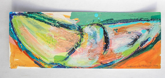 'Crescent', Acrylic Paint, Oil Bar, Handmade Chalks on Card