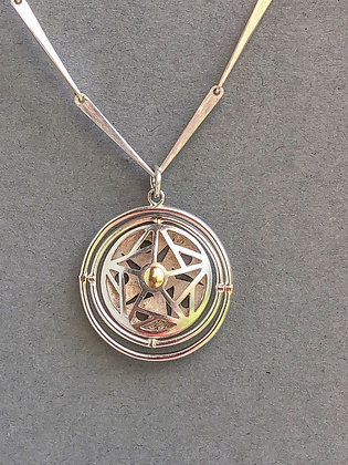 'Gyroscopically, Changeable Flowers' Pendant, Sterling Silver, 18 KT Gold