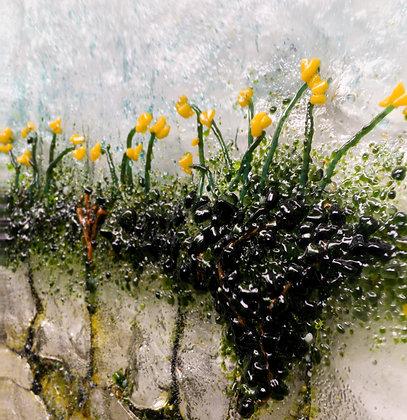 'Daffodils Baile Mhuirne', Fused Glass (framed)