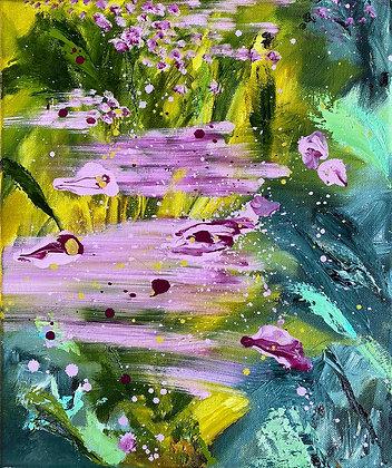 'Sea Pinks', Oil on Canvas (unframed)