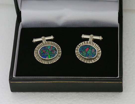 'Cufflinks', Mosaic Opal and Sterling Silver