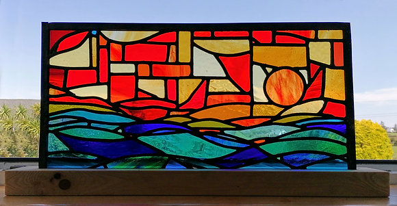'Three Calves From Schull', Stained Glass Panel with Stand