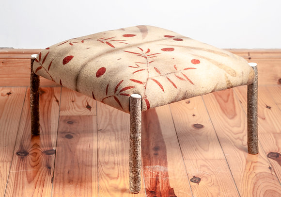 'Hazel with Red Round Leaf Eco Print Ottoman', Hazel and Eco Print Fabric