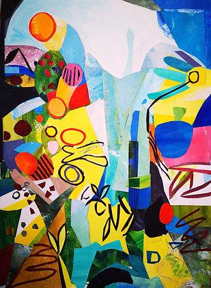'Summer 3', Mixed Media on Paper, Framed