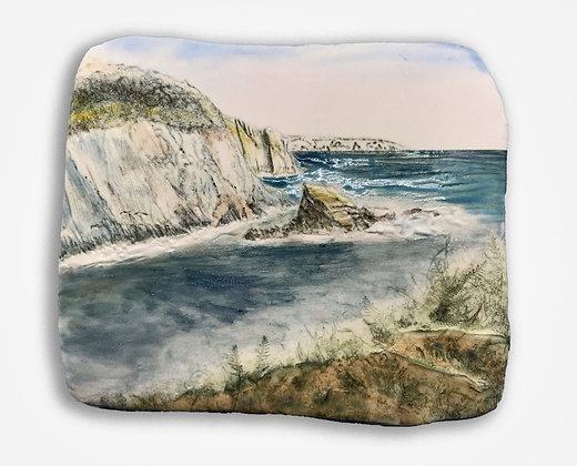'Rock in Springtime', Porcelain Wall Piece on Board