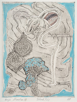 'Island Kelp', Unique Collograph Print, Hand-Tinted