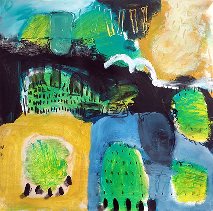 'An Cabh Dubh, after fire, the first green', Mixed Media on Fabriano Paper