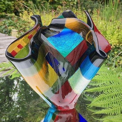 'Evening Squares Vase', Fused Glass