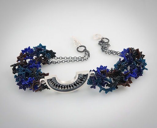 'Spiral Pendant', Oxidised Sterling Silver and Glass Beadwork