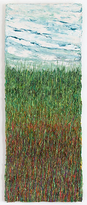 'Harvest Grasses I', Acrylic & Natural Fibre on Canvas Mounted on Aluminum