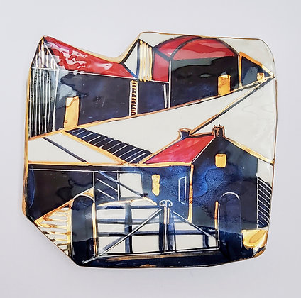 'The Gate' Ceramic Wall Dish, Porcelain Clay with Gold Lustr