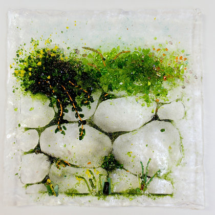 'Ivy and Mosses', Fused Glass (framed)