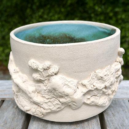 'Garden Views 2', White Stoneware Glazed Vessel