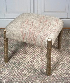 'Monbretia Footstool', Hazel with Wool Textile by Mary Palmer