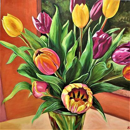'Tulips near the Window', Oil on Canvas