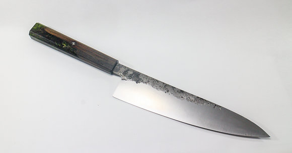'The Shamrock', Chef Knife with Wood and Resin Handle