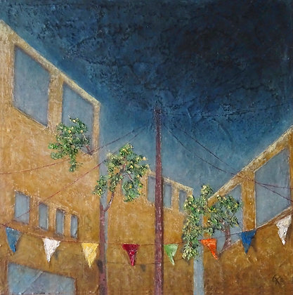 'Keep the Flags Flying', Oil and Cold Wax on Canvas
