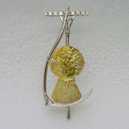 'Wheatsheaf and Scythe Brooch', Sterling Silver with Gilded Corn