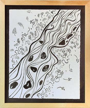 'Idir Meen agus Leimawaddera 1 {Large}', Oak Gall Ink on Paper