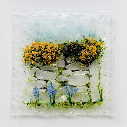 'Gorse and Bluebells', Fused Glass (framed)
